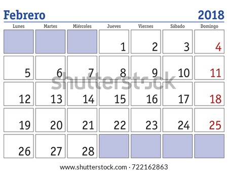 calendar 2018 february month year 2018 stock vector royalty free