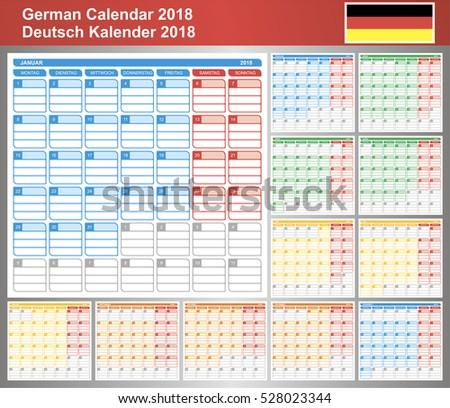 calendar 2018 german planning calendar template january december week starts on monday