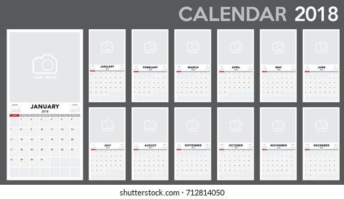 Calendar 2018 horizontal template design. Calendar Template  week starts from Sunday.Vector eps10.