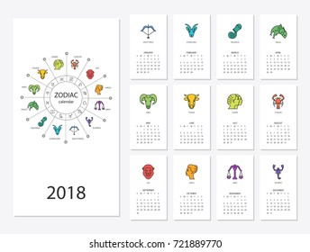 Calendar 2018 with horoscope signs zodiac symbols set, flat colored illustration, template. Can be used for web, print, card, poster, banner, bookmark. Week starts on sunday.