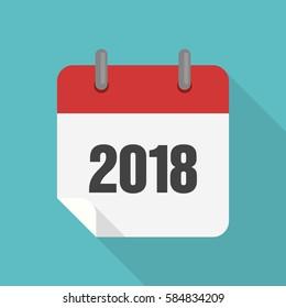 Calendar 2018 icon flat design, vector  illustration