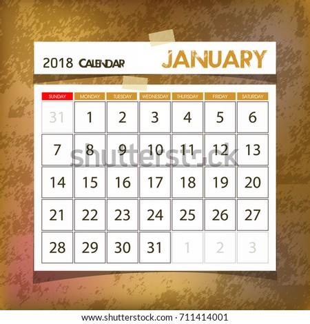 calendar 2018 january vintage paper on grunge background