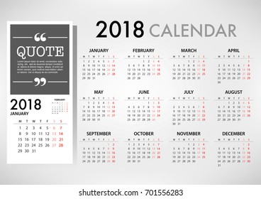 Calendar for 2018 on White Background for organization and business. Week Starts Monday. Simple Vector Template. EPS10