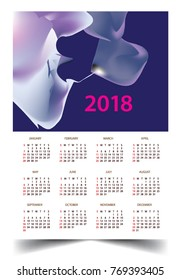 Calendar for 2018 on White Background. Week Starts Monday. Simple and colorful Vector Template