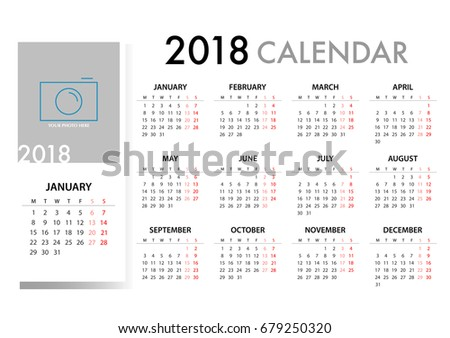 calendar for 2018 on white background for organization and business week starts monday simple