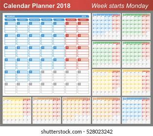 calendar 2018 planning calendar template january december week starts on monday vector