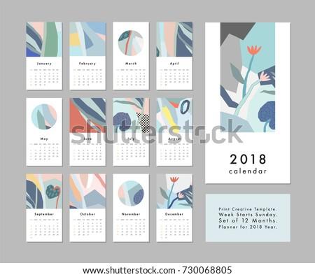 calendar 2018 printable creative template abstract のベクター画像