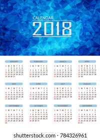 Calendar 2018. Simple Colorful Gradient low poly calendar template in white background.