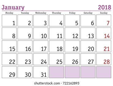 Calendar 2018. Simple digital calendar for January 2018. Vector printable calendar. Monthly scheduler. Week starts on Monday. English calendar