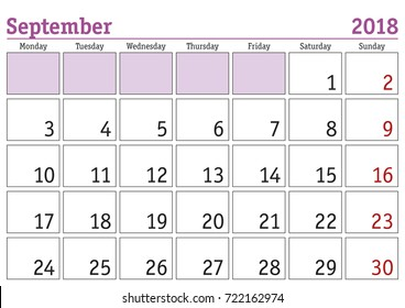 sept calendar 2018 printable