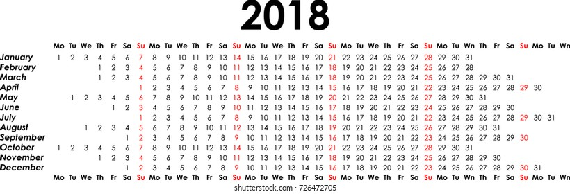 Calendar 2018 single line stylisation. Vector Illustration.