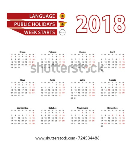 calendar 2018 in spanish language with public holidays the country of spain in year 2018