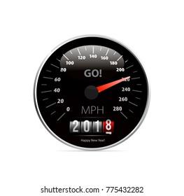 Calendar 2018 in speedometer car.
