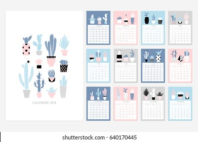 Calendar 2018. Stock vector. Fun and cute calendar with hand drawn succulents and cactus plants. Pink blue grey white