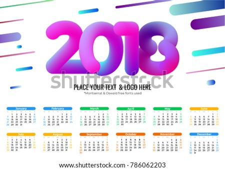 calendar 2018 template cool bubble numbers stock vector royalty