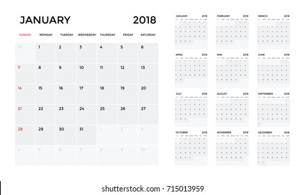 Calendar 2018 template. Calendar planning week. vector