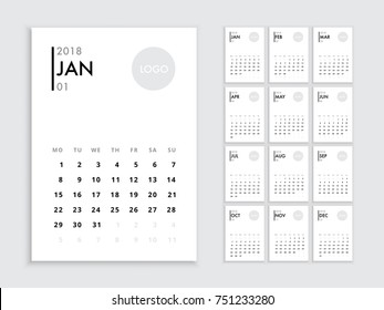 Calendar 2018 template. Vector template calendar 2018 isolated. Planer for the new year minimalist style Calendar 2018.