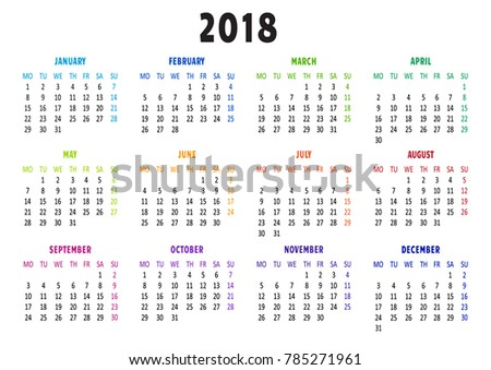 calendar 2018 template week starts from monday vector illustration