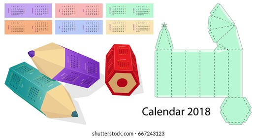 Calendar 2018  twelve Months  , Weekend days highlighted, Box design, die-stamping, Isolated on white background.
