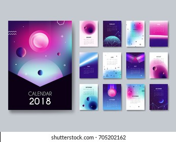Calendar 2018. Vector template for printing 12 months. A set of 12 abstract card with futuristic compositions of space, planets, constellations. Gradient vector calendar.