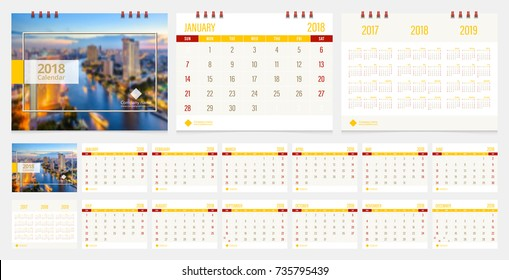 Calendar 2018 week start on Sunday corporate business luxury design layout template vector. Sample image with Gradient Mesh.
