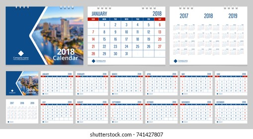 Calendar 2018 week start on Sunday corporate business luxury design blue and red color layout template vector.