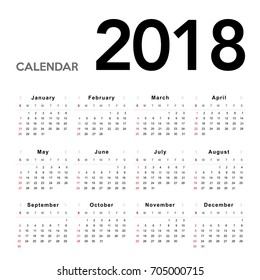 Calendar 2018. Week starts from Sunday.Vector eps10