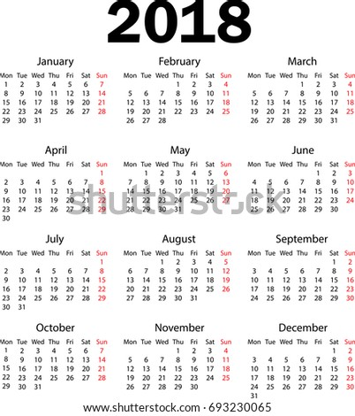 calendar 2018 weeks starts from monday