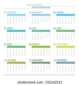 Calendar 2018 year grid design isolated on white background. English language. Week starts monday. Holidays are not marked. Vector calendar for year 2017 Template. Set of 12 Months