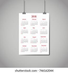 Calendar 2018 year on hanging sheet