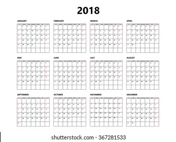 Calendar 2018 year simple style with grid. Week starts from sunday