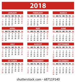 set of 12 months calendar 2018 year simple style in white background week starts from sunday vector illustration