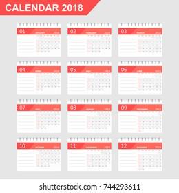 calendar 2018 year in simple style calendar planner design template week starts on sunday