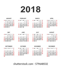 Calendar 2018 year vector design template. Simple 2018 year calendar.  Vector circle calendar 2018. Week starts from Sunday and ends  with Saturday. Font sans serif bold style
