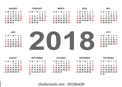 Calendar 2018 year vector design template. Week starts from Sunday and ends  with Saturday. Font sans serif  bold style on white background