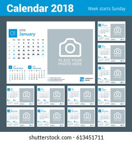 Calendar for 2018 Year. Vector Design Print Template with Place for Photo and Company Logo. Week Starts on Sunday. Set of 12 Months