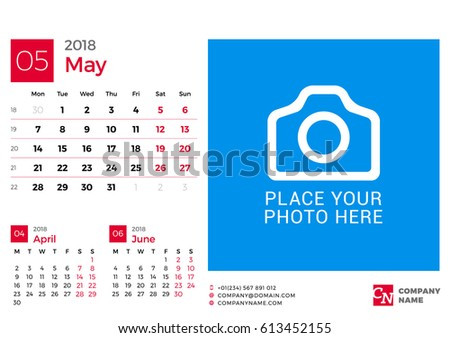Calendar 2018 Year Vector Design Print Stock Vector Royalty Free