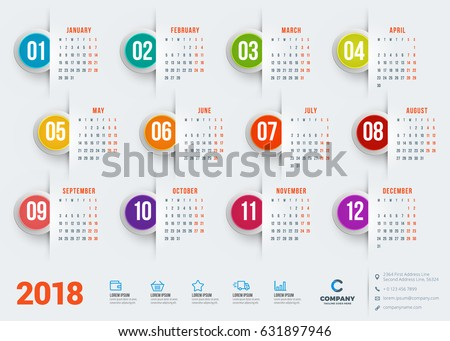 calendar for 2018 year vector design stationery template week starts on monday flat