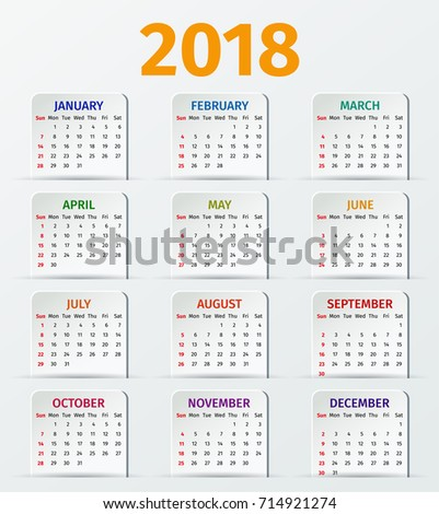 calendar 2018 year week starts sunday vector stationery template yearly calendar organizer