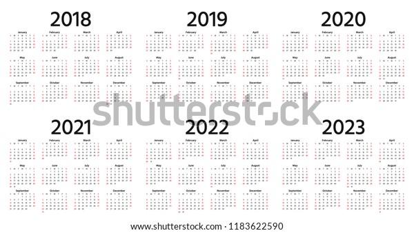 Calendario Premier 2021 2022 Calendar 2019 2018 2020 2021 2022 Stock Vector (Royalty Free
