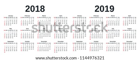 calendar 2019 2018 in simple style week starts sunday vector stationery 2018