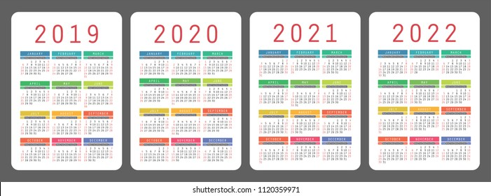 Calendar 2019, 2020, 2021, 2022 years. Colorful vector set. Week starts on Sunday. Vertical calender design template