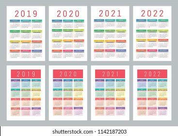 Calendar 2019, 2020, 2021, 2022 years. Colorful vector set. Week starts on Sunday. Vertical calender design template