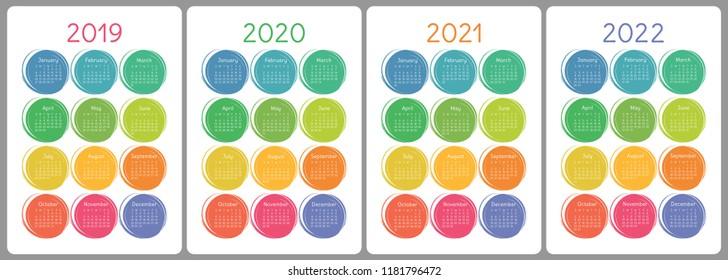 Calendar 2019, 2020, 2021, 2022 years. Colorful vector set. Week starts on Sunday. Vertical calender design template. Brush or chalk. Hand drawn