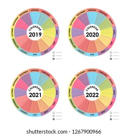 Calendar 2019, 2020, 2021 and 2022 Calendar template.Calendar design.Yearly calendar vector design stationery template.Vector illustration.