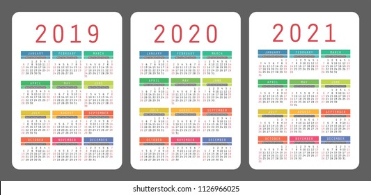 Calendar 2019, 2020, 2021 years. Colorful vector set. Week starts on Sunday. Vertical calender design template