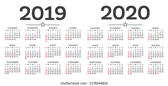Calendar 2019 2020 Isolated on White Background. Week starts from Sunday. Vector Illustration.