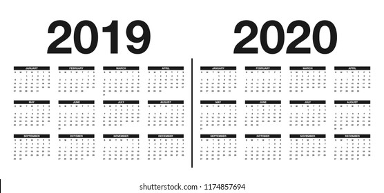 Calendar 2019 and 2020 template. Calendar design in black and white colors. Vector