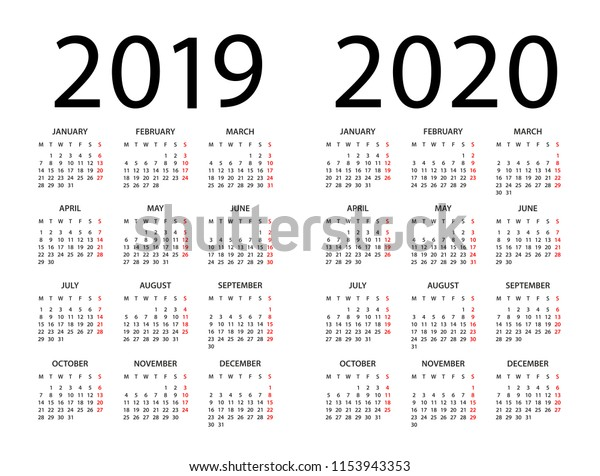 Calendario 2020 Portugues Com Feriados.Vector De Stock Libre De Regalias Sobre Calendar 2019 2020