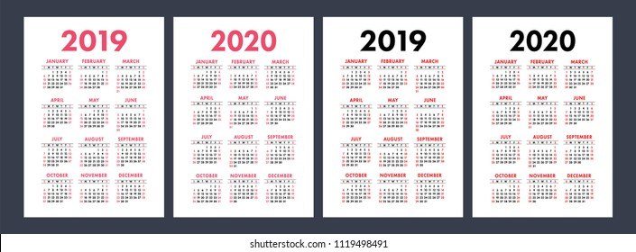 Calendar 2019, 2020 years. Basic vector set. Week starts on Sunday. Design template